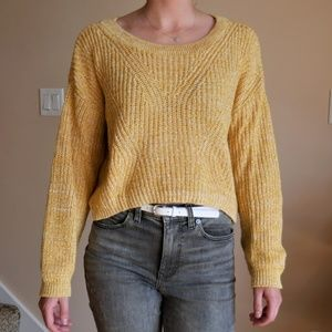 Yellow Knitted Cropped Sweater